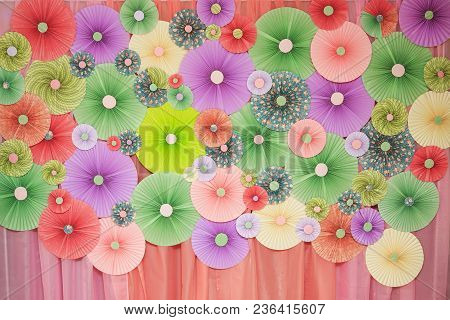 Origami Color Paper Look Like Circle Blow Or Fan To Decorated Wall. Fan Of Colored Paper
