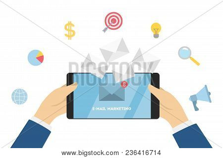 Business E-mail Marketing. Promoting Business On Smartphone.