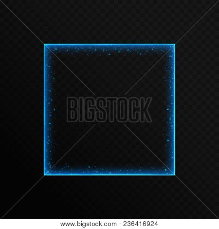A Colorful Blue Neon Frame With Shiny Particles And Bright Stars On A Translucent Background. Vector