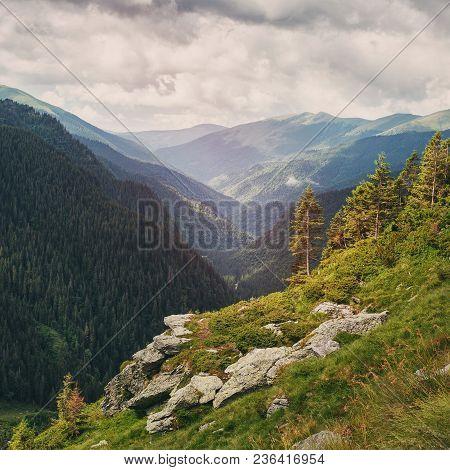 Mountain Landscape. Carpathian Mountains In Romania. Cliffs Nearby Transfagarasan Road. High Mountai