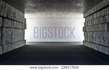 concrete grunge room 3d rendering image