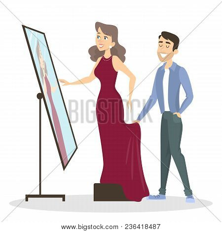 Tailoring Illustrations. Man Tailor Showing The Dress To Woman.