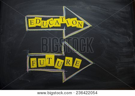 Education Creativity Concept. Education And Future Arrows On A Black Board, Top View, Close Up