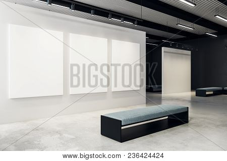 Modern Exhibition Hall With Empty Billboard And Bench. Gallery, Art, Exhibit And Museum Concept. Moc