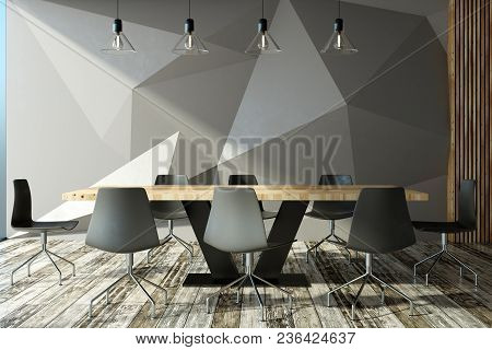 Modern Meeting Room Interior With Abstract Wall, Furniture And Equipment. 3d Rendering