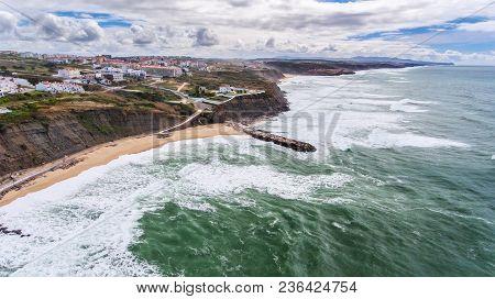 Aerial. Shores And Beaches Of The Village Ericeira Lisbon.