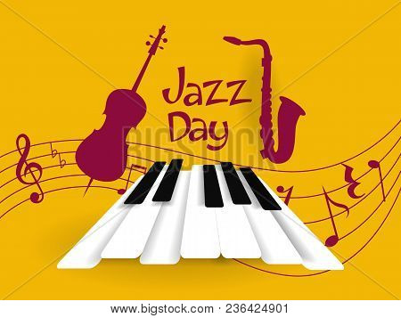 Jazz Day Greeting Card With Musical Instruments.