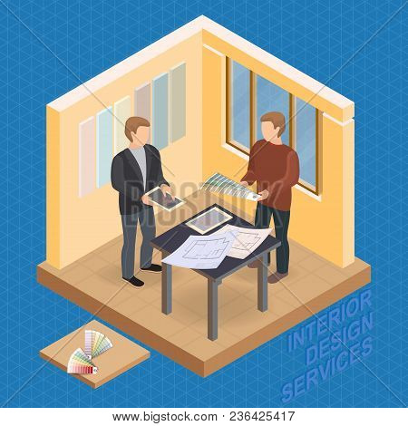 Home Repair Isometric Template. Designer And Customer Are Standing Near The Table With Drawings, Loo