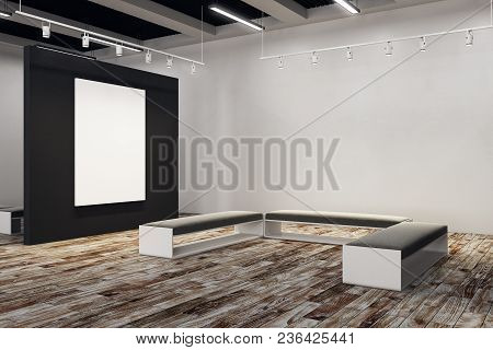 Contemporary Exhibition Hall With Empty Billboard And Bench. Gallery, Art, Exhibit And Museum Concep