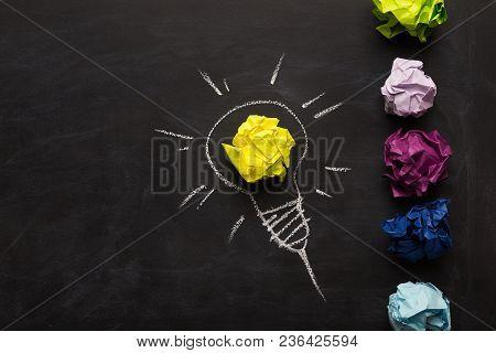 Creative Inspirational Background - Light Bulb As Metaphor For Idea. Electric Bulb Drawn On Chalkboa