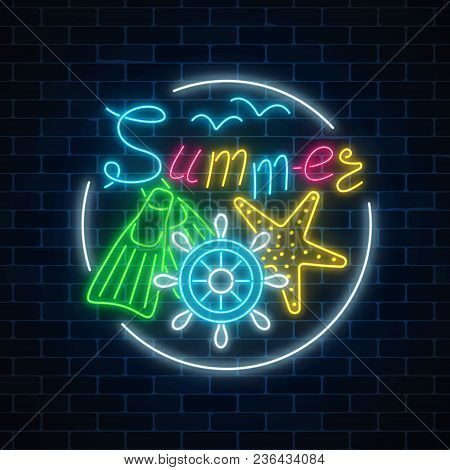 Glowing Neon Sign Of Summer Begin Party With Sea Star, Flippers And Handwheel In Circle Frame On Dar
