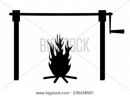 Spit Roast Fire. Isolated White Background. Eps File Available.