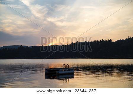 Metal Swim Platform, Squam Lake, New Hampshire, At Sunset