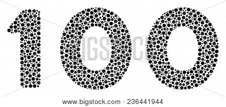 100 Text Collage Of Round Dots In Various Sizes And Color Tones. Circle Elements Are Combined Into 1