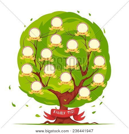 Genealogical Tree Template With Round Frames For Portraits Of Family Members On Green Foliage Backgr