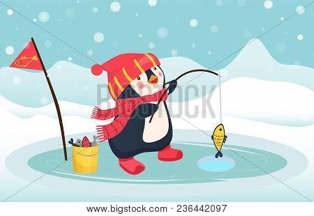 Penguin Fisherman Caught Fish. Cartoon Fisherman And Fish. Ice Fishing Vector