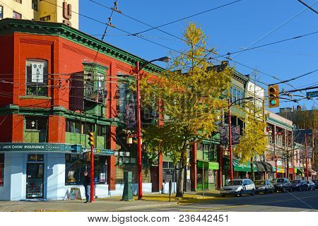 Vancouver - Nov 13, 2014: Chinatown Historic Buildings On Pender Street Between Columbia Street And