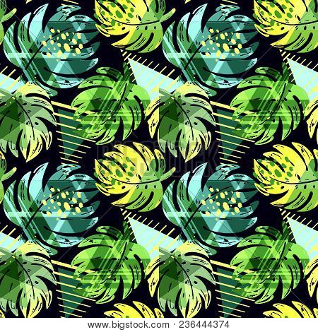 Seamless Summer Tropical Leaves Pattern