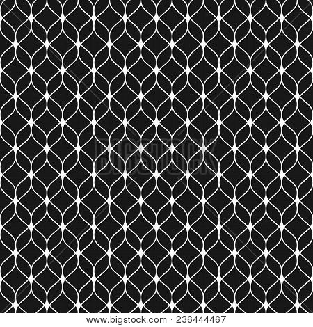 Vector Seamless Pattern In Arabian Style. Abstract Graphic Monochrome Background With Thin Wavy Line