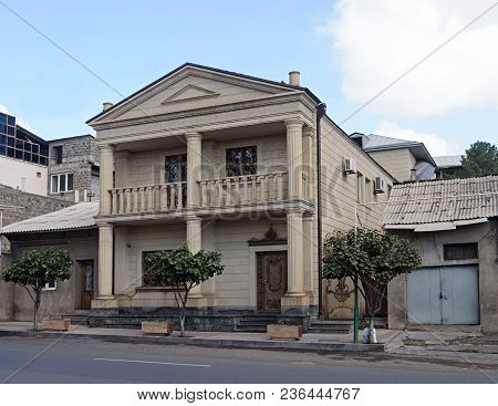 Yerevan, Armenia - October 05, 2017: Beautiful Two-storied House With Columns In Antique Style