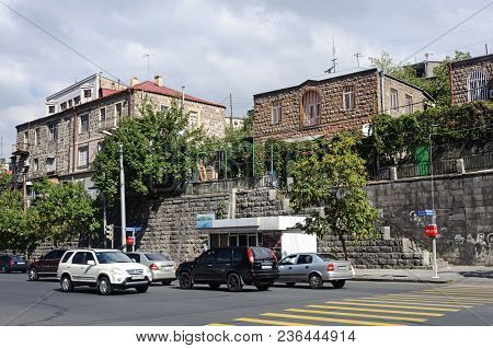 Yerevan, Armenia - October 05, 2017: Road And Private Houses On The Hill, Charents Street In Yerevan