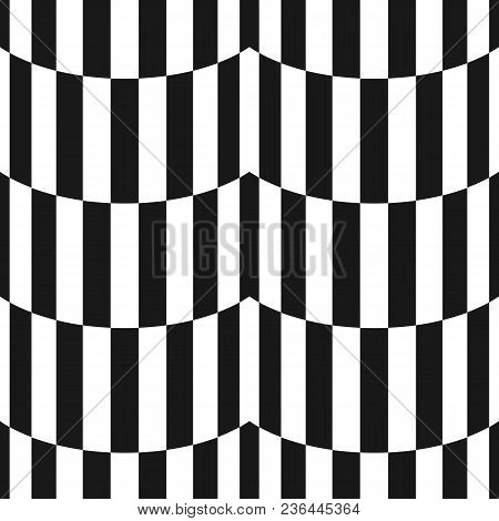 Black And White Stripes Seamless Pattern. Simple Vector Texture With Vertical Striped Lines, Wavy Sh