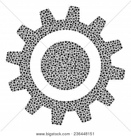 Cog Mosaic Of Dots In Various Sizes And Color Tints. Small Circles Are Combined Into Cog Vector Comp