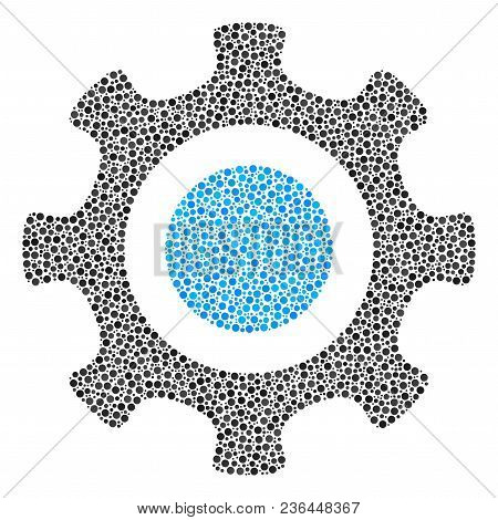 Cogwheel Composition Of Small Circles In Various Sizes And Color Tones. Circle Elements Are Organize