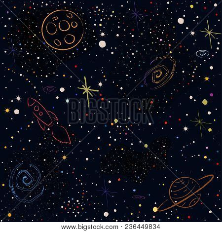 Cosmic Pattern With Stars, Planets, Moon, Rocket, Spiral Galaxies And Constellations In Color. Vecto