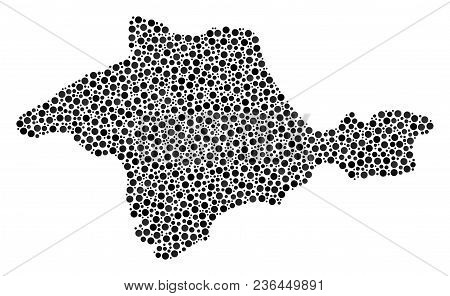 Crimea Map Collage Of Small Circles In Variable Sizes And Color Tinges. Circle Dots Are Grouped Into