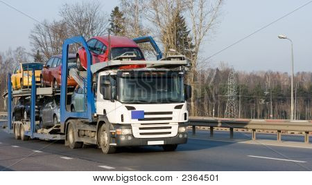 Car Carrier Truck Deliver New Auto Batch To Dealer Of