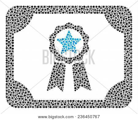 Diploma Collage Of Round Dots In Various Sizes And Color Hues. Small Circles Are Grouped Into Diplom
