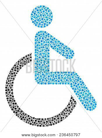 Disabled Person Collage Of Round Dots In Different Sizes And Color Shades. Circle Dots Are Organized