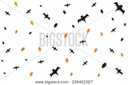 Seamless Halloween Pattern With Flying Bats And Floating Leaves On White Background. Vector Illustra