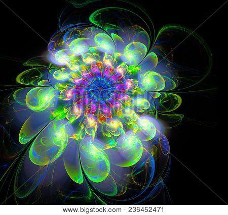 Abstract Fractal Futuristic Colourful Flower Pattern. 3d Render Illustration Of A Fractal. Art Fanta