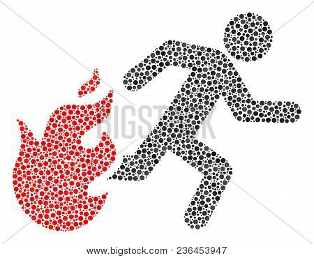 Fired Running Man Mosaic Of Dots In Various Sizes And Color Tinges. Circle Elements Are Composed Int