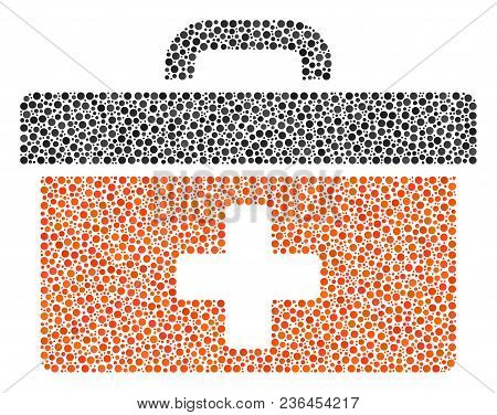 First Aid Toolbox Composition Of Round Dots In Various Sizes And Color Shades. Circle Dots Are Unite