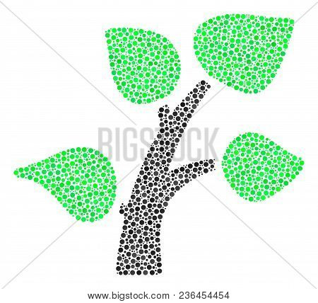 Flora Plant Mosaic Of Dots In Various Sizes And Color Tones. Circle Dots Are United Into Flora Plant