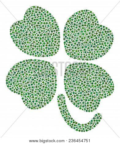 Four-leafed Clover Mosaic Of Dots In Variable Sizes And Color Tones. Circle Dots Are Organized Into