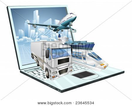 Logistics Laptop Computer Concept