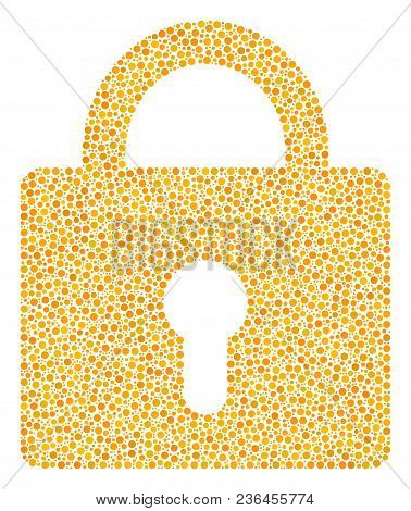 Lock Mosaic Of Small Circles In Different Sizes And Color Hues. Small Circles Are Combined Into Lock