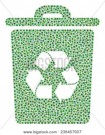 Recycle Bin Collage Of Small Circles In Different Sizes And Color Tones. Dots Are Combined Into Recy