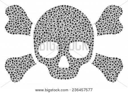 Skull Crossbones collage of round dots in different sizes and color tints. Dots are composed into skull crossbones vector composition. Dotted vector illustration. poster