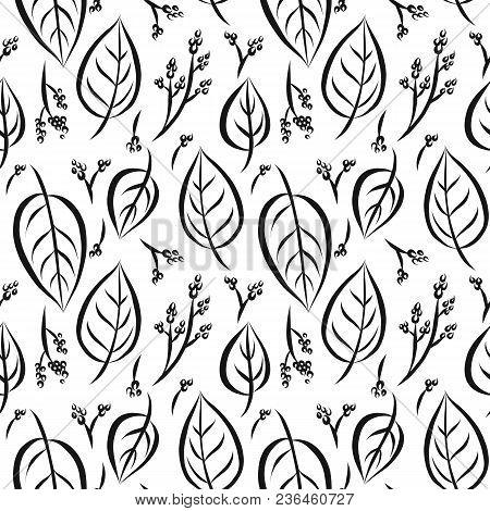 Vector Seamless Pattern Of Graphical Leaves Shapes, Monochrome Botanical Illustration, Floral Elemen