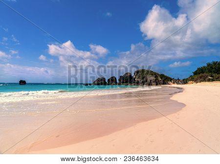 Beautiful Horseshoe Bay Beach on Bermuda's south shore.