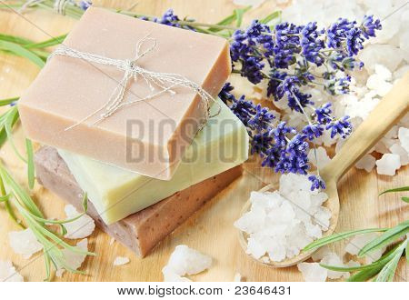 Stack Of Herbal Soap With Salt