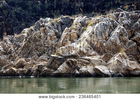 Sharp Ridged Marble Rocks On Either Banks River Narmada At Bedaghat Near Jabalpur, Madhya Pradesh, I