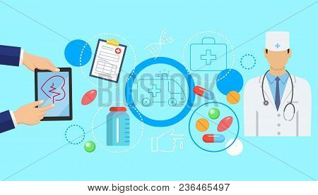 Online Medicine Banner With Flat Icons Of Digital Healthcare Solutions With Electronic Device Vector