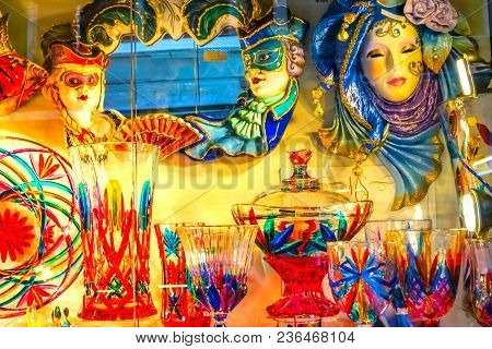 Colorful Venetian Glass And Masks Venice Italy Masks Used Since The 1200s For Carnival, Which Were C