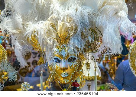 White Venetian Masks Venice Italy Used Since The 1200s For Carnival, Which Were Celebrated Just Befo